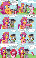 Size: 2000x3200 | Tagged: safe, artist:jake heritagu, pinkie pie, scootaloo, oc, oc:aero, oc:lightning blitz, earth pony, pegasus, pony, comic:ask motherly scootaloo, it's about time, :3, baby, baby pony, blank flank, clothes, colt, comic, crystal ball, dialogue, diaper, female, filly, fortune teller, hairpin, holding a pony, male, motherly scootaloo, offspring, older, older scootaloo, parent:derpy hooves, parent:oc:warden, parent:pinkie pie, parent:rain catcher, parent:scootaloo, parents:canon x oc, parents:catcherloo, parents:warderp, scarf, shipper on deck, speech bubble, sweatshirt, turban