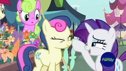 Size: 1279x719 | Tagged: safe, screencap, bon bon, daisy, flower wishes, rarity, roseluck, sweetie drops, earth pony, pony, unicorn, it isn't the mane thing about you, boop, boop bon, discovery family logo, female, flower, mare