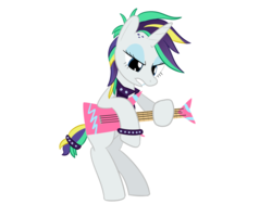 Size: 1000x800   Tagged: safe, artist:mightyshockwave, rarity, pony, unicorn, it isn't the mane thing about you, alternate hairstyle, bad guitar anatomy, bipedal, electric guitar, female, guitar, guitarity, mare, musical instrument, punk, raripunk, simple background, solo, white background