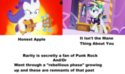 Size: 1596x948 | Tagged: safe, edit, screencap, rarity, honest apple, it isn't the mane thing about you, alternate hairstyle, guitar, guitarity, headcanon, punk, raripunk, text
