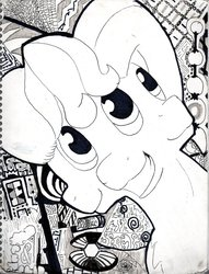Size: 781x1023   Tagged: source needed, useless source url, safe, artist:andandampersand, oc, oc only, oc:andandampersand, bust, monochrome, portrait, signature, three faces, traditional art