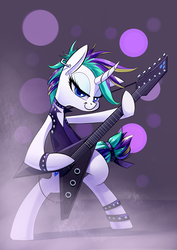 Size: 2480x3507   Tagged: safe, artist:underpable, rarity, pony, unicorn, it isn't the mane thing about you, alternate hairstyle, bad guitar anatomy, bipedal, clothes, crossing the memes, curved horn, ear piercing, electric guitar, female, flying v, guitar, guitarity, looking at you, mare, meme, metal, musical instrument, piercing, punk, raripunk, smiling, solo