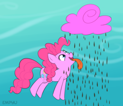 Size: 1000x867 | Tagged: 30 minute art challenge, artist:empyu, chocolate, chocolate rain, cloud, cotton candy, cotton candy cloud, earth pony, female, food, mare, open mouth, pinkie pie, pony, rain, safe, solo, tongue out