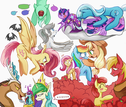 Size: 1200x1020 | Tagged: safe, artist:foresterrr, apple bloom, applejack, big macintosh, discord, fluttershy, lyra heartstrings, princess celestia, rainbow dash, trixie, twilight sparkle, oc, alicorn, bat, bat pony, draconequus, earth pony, pegasus, pony, unicorn, ..., apple, appledash, blushing, body pillow, celestabellebethabelle, celestia is not amused, clothes, cowboy hat, female, filly, flutterbat, flying, food, frown, glowing horn, gravity falls, hat, lesbian, looking down, male, mare, pixiv, race swap, shipping, simple background, smiling, speech bubble, the last mabelcorn, trixie's hat, twilight sparkle (alicorn), twixie, unamused, wall of tags, white background