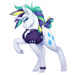 Size: 1024x1024 | Tagged: alternate hairstyle, artist:theanthropony, clothes, eyeshadow, female, it isn't the mane thing about you, looking at you, makeup, mare, pony, raised hoof, raripunk, rarity, safe, short hair, simple background, smiling, solo, transparent background, unicorn