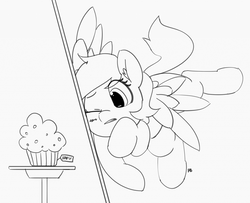 Size: 1280x1038 | Tagged: 30 minute art challenge, artist:pabbley, crash, cute, derpabetes, derpy hooves, flying, food, muffin, pony, safe, solo