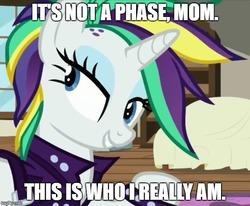 Size: 606x499 | Tagged: safe, edit, edited screencap, screencap, rarity, pony, unicorn, it isn't the mane thing about you, alternate hairstyle, female, image macro, looking at something, mare, meme, mohawk, raripunk, solo