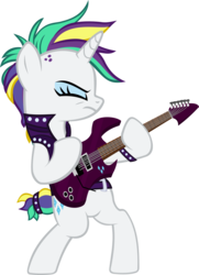 Size: 2945x4062   Tagged: safe, artist:ironm17, rarity, pony, unicorn, it isn't the mane thing about you, alternate hairstyle, bipedal, clothes, crossing the memes, electric guitar, eyes closed, female, guitar, guitarity, heavy metal, jacket, leather jacket, mare, metal, musical instrument, punk, raripunk, rock (music), simple background, solo, spiked wristband, that was fast, transparent background, vector, wristband