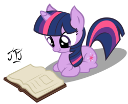 Size: 4203x3417 | Tagged: safe, artist:mlp-scribbles, twilight sparkle, pony, unicorn, book, cute, female, looking down, lying down, mare, ponyloaf, reading, shadow, simple background, transparent background, unicorn twilight