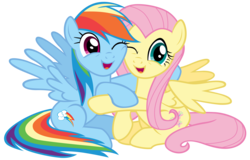 Size: 14100x9000 | Tagged: safe, artist:tardifice, fluttershy, rainbow dash, pegasus, pony, fame and misfortune, absurd resolution, cute, dashabetes, female, hug, looking at you, mare, one eye closed, shyabetes, simple background, smiling, transparent background, vector