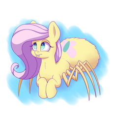 Size: 1500x1600 | Tagged: safe, artist:heir-of-rick, fluttershy, monster pony, original species, spiderpony, cute, fangs, gift art, shyabetes, solo, species swap, spidershy