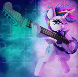 Size: 2000x1967   Tagged: safe, artist:discorded, rarity, pony, unicorn, it isn't the mane thing about you, alternate hairstyle, bad guitar anatomy, clothes, electric guitar, female, guitarity, mare, musical instrument, punk, punk rock, raripunk, rock (music), smiling, solo
