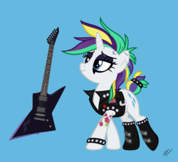 Size: 1187x1081   Tagged: safe, artist:zehfox, rarity, pony, unicorn, it isn't the mane thing about you, alternate hairstyle, blue background, crossing the memes, electric guitar, eyeliner, female, guitar, guitarity, makeup, mare, mascara, musical instrument, punk, raripunk, simple background, solo, tattoo