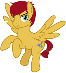 Size: 2450x2700 | Tagged: safe, alternate version, artist:cheezedoodle96, flash magnus, pegasus, pony, campfire tales, shadow play, .svg available, flying, lidded eyes, looking at you, male, missing accessory, rearing, simple background, smiling, solo, stallion, svg, torn wings, transparent background, vector