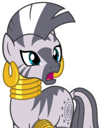 Size: 2409x3066 | Tagged: safe, artist:sketchmcreations, zecora, zebra, it isn't the mane thing about you, bracelet, ear piercing, earring, female, jewelry, neck rings, open mouth, piercing, quadrupedal, simple background, transparent background, vector