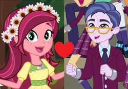 Size: 1024x714 | Tagged: safe, artist:3d4d, edit, edited screencap, screencap, clayton potter, gloriosa daisy, larry cooper, equestria girls, legend of everfree, claisy, female, geode of fauna, geode of shielding, geode of sugar bombs, geode of super speed, geode of super strength, magical geodes, male, shipping, shipping domino, straight