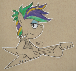 Size: 1091x1019   Tagged: safe, artist:b-cacto, rarity, pony, unicorn, it isn't the mane thing about you, alternate hairstyle, bad guitar anatomy, bedroom eyes, crossing the memes, female, guitar, guitarity, looking at you, musical instrument, punk, raripunk, solo, traditional art