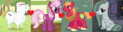 Size: 1900x494 | Tagged: big macintosh, bulk biceps, bulkmac, cheeribulk, cheerilee, cheerimac, cheerimarblemac, earth pony, edit, edited screencap, female, gay, lesbian, love square, love triangle, male, marbilee, marblemac, marble pie, marbulk, pegasus, pony, safe, screencap, shipping, shipping domino, straight
