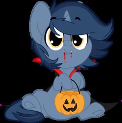 Size: 1773x1793 | Tagged: safe, artist:kellythedrawinguni, oc, oc only, oc:b.b., vampire, clothes, costume, cute, cute little fangs, fangs, halloween, holiday, jack-o-lantern, pumpkin, pumpkin bucket, simple background, transparent background, underhoof