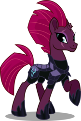 Size: 1212x1800 | Tagged: safe, artist:seahawk270, tempest shadow, pony, my little pony: the movie, armor, broken horn, female, happy, mare, pretty pretty tempest, raised hoof, simple background, smiling, solo, transparent background, vector