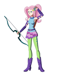 Size: 1944x2592 | Tagged: safe, artist:dinosaurcol, fluttershy, equestria girls, friendship games, archery, armpits, belt, boots, bow (weapon), human coloration, light skin, shoes