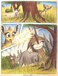 Size: 1064x1388 | Tagged: acacia tree, africa, angry, animal in mlp form, annoyed, antelope, artist:thefriendlyelephant, black rhinoceros, bush, comic, comic:sable story, cute, dik dik, fluffy, gasp, giant sable antelope, grass, hill, horns, insulted, oc, oc:grumpy the rhino, oc:kekere, oc only, oc:sabe, oc:uganda, pinned, rhinoceros, rock, safe, savanna, scar, scared, size difference, surprised, territorial, traditional art, unconscious, yelling