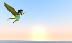 Size: 1199x720 | Tagged: safe, artist:horsesplease, fluttershy, equestria girls, 3d, fall formal outfits, flying, gmod, happy, morning, ocean, sky, sun, sunrise, water, wings