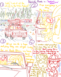 Size: 1280x1611 | Tagged: safe, artist:adorkabletwilightandfriends, apple bloom, applejack, oc, oc:deputy tucker, oc:firefighter spray, earth pony, pony, comic:adorkable twilight and friends, adorkable friends, ambulance, car, comic, dialogue, fire engine, firefighter, freckles, lineart, looking at each other, pickup truck, police car, sheriff, sitting, slice of life, traffic cone, tree, truck