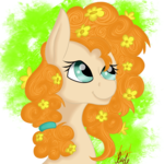 Size: 2000x2000 | Tagged: artist:auntrude, buttercup, earth pony, female, flower, flower in hair, looking up, mare, pear butter, pony, safe, solo