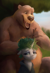 Size: 4000x5790 | Tagged: safe, artist:starblaze25, harry, rarity, bear, pony, unicorn, it isn't the mane thing about you, absurd resolution, bad hair, female, mare, open mouth, sad, smiling