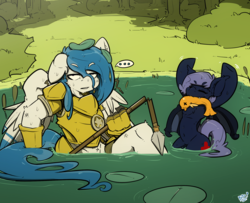 Size: 2000x1622 | Tagged: safe, artist:bbsartboutique, oc, oc only, oc:delta dart, oc:shaddie quindecim, bat pony, fish, hippogriff, ..., annoyed, armor, broken, bush, eyes closed, fangs, grass, lake, lilypad, pond, royal guard armor, size difference, spear, talons, tree, water, weapon, wet, wet mane
