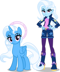 Size: 5000x5988 | Tagged: safe, artist:orin331, trixie, alicorn, pony, dancerverse, equestria girls, absurd resolution, alicornified, alternate hairstyle, alternate universe, boots, clothes, female, halo, hand on hip, high heel boots, high heels, human ponidox, looking at you, race swap, self ponidox, shoes, shorts, simple background, smiling, socks, solo, stockings, thigh highs, transparent background, trixiecorn, vector