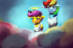 Size: 1539x1022 | Tagged: safe, artist:toisanemoif, rainbow dash, scootaloo, angel, clothes, duo, folded wings, halo, heaven