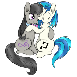 Size: 3000x3000 | Tagged: artist:squipycheetah, cute, dj pon-3, hug, lesbian, octavia melody, redraw, safe, scratchtavia, shipping, simple background, sitting, transparent background, vinyl scratch