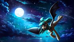 Size: 3465x2000 | Tagged: safe, artist:l1nkoln, oc, oc only, oc:icy breeze, bat pony, pony, bat pony oc, cloud, commission, female, flying, full moon, high res, mare, moon, night, night sky, sky, smiling, solo, starry night, stars