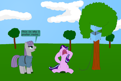 Size: 1152x768 | Tagged: artist:hakar-kerarmor, derpibooru exclusive, kite, kite-eating tree, maud pie, nose in the air, peanuts, safe, screaming, starlight glimmer, tree