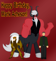 Size: 3623x3952 | Tagged: artist:cyber-murph, black lagoon, boris, crossover, happy birthday, hulk vs wolverine, lord tirek, mark acheson, sabretooth, safe, scar, tribute, voice actor, x-men