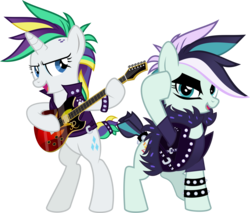 Size: 7095x6039 | Tagged: safe, artist:jhayarr23, coloratura, rarity, it isn't the mane thing about you, absurd resolution, alternate costumes, alternate hairstyle, bipedal, clothes, countess coloratura, electric guitar, guitar, open mouth, punk, rarararara, raripunk, simple background, transparent background