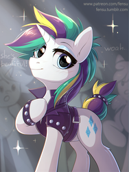 Size: 1508x2002 | Tagged: safe, artist:fensu-san, rarity, pony, unicorn, it isn't the mane thing about you, alternate hairstyle, audience, clothes, eyeshadow, female, looking at you, makeup, mare, punk, raripunk, short hair, smiling, solo focus, spiked wristband, studded bracelet, wristband