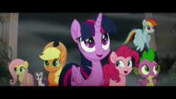 Size: 1920x1080 | Tagged: safe, screencap, applejack, fluttershy, pinkie pie, rainbow dash, rarity, spike, twilight sparkle, alicorn, dragon, pony, my little pony: the movie, hippogriffia, mane seven, mane six, mount aris, twilight sparkle (alicorn)