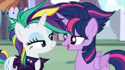 Size: 2007x1131   Tagged: safe, artist:3d4d, rarity, twilight sparkle, alicorn, it isn't the mane thing about you, alternate hairstyle, female, lesbian, punk, punklight sparkle, rarilight, raripunk, raripunklight, shipping, twilight sparkle (alicorn)