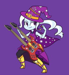 Size: 1866x2000 | Tagged: safe, artist:khuzang, trixie, equestria girls, rainbow rocks, cape, clothes, electric guitar, female, guitar, hat, musical instrument, simple background, smiling, solo, trixie's cape, trixie's hat