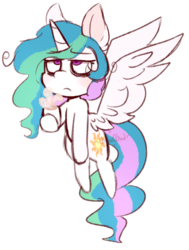 Size: 557x737 | Tagged: safe, artist:urbanqhoul, princess celestia, alicorn, pony, bags under eyes, coffee, ear fluff, female, hoof hold, looking up, mare, messy mane, mug, simple background, solo, spread wings, transparent background, wings