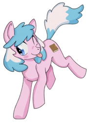 Size: 1111x1546   Tagged: safe, artist:dbkit, derpibooru exclusive, oc, oc only, oc:artabana, earth pony, pony, :p, blush sticker, blushing, female, jumping, mare, one eye closed, simple background, smiling, solo, tongue out, transparent background, wink