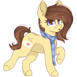 Size: 2048x2048 | Tagged: safe, artist:cinnamontee, oc, oc only, oc:coffee, earth pony, pony, clothes, female, high res, mare, raised hoof, scarf, simple background, solo, tongue out, transparent background, walking