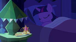 Size: 1920x1080 | Tagged: alicorn, bed, bedside stand, big crown thingy, blanket, crown, cute, equestria girls, equestria girls (movie), eyes closed, female, jewelry, lamp, mare, night, pillow, pony, regalia, safe, screencap, sleeping, smiling, solo, twiabetes, twilight sparkle, twilight sparkle (alicorn)