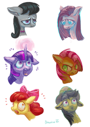 Size: 600x849 | Tagged: apple bloom, artist:drawirm, babs seed, daring do, octavia melody, pinkie pie, safe, twilight sparkle