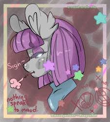 Size: 540x597 | Tagged: safe, artist:mauderatelife, maud pie, tumblr:a mauderate life, abstract background, blushing, dialogue, female, lidded eyes, maudabetes, sigh, solo, stars