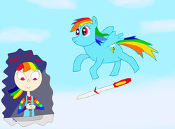 Size: 1024x759   Tagged: safe, artist:04startycornonline88, rainbow dash, human, pony, after burner, human ponidox, humanized, missile, paradox, parody, self ponidox