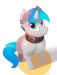 Size: 3003x3940 | Tagged: artist:b-epon, begging, collar, doggo, ear piercing, earring, jewelry, looking at you, looking up, male, oc, oc only, oc:spiral light, perspective, piercing, pony, safe, solo, unicorn